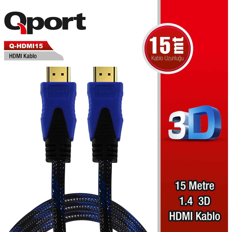 QPORT Q-HDMI15 15M ALTIN UÇLU HDMI KABLO