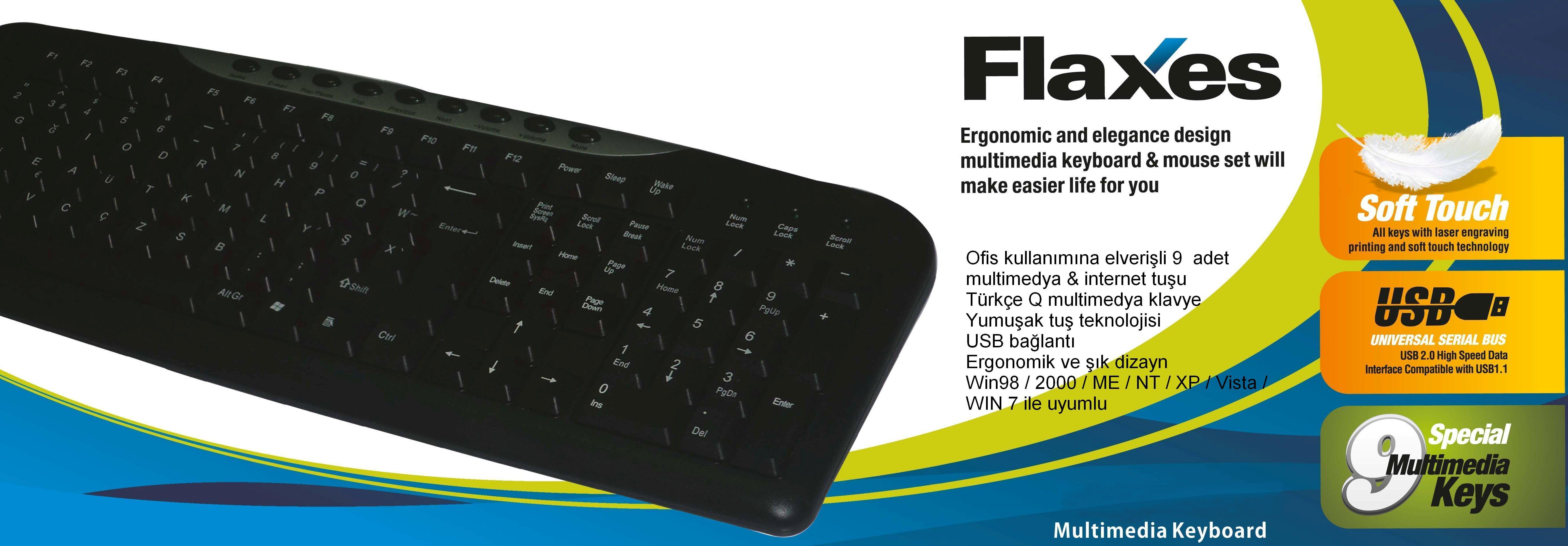 Flaxes FLX-172Q-MM Usb Multimedya Q TR Kablolu Klavye