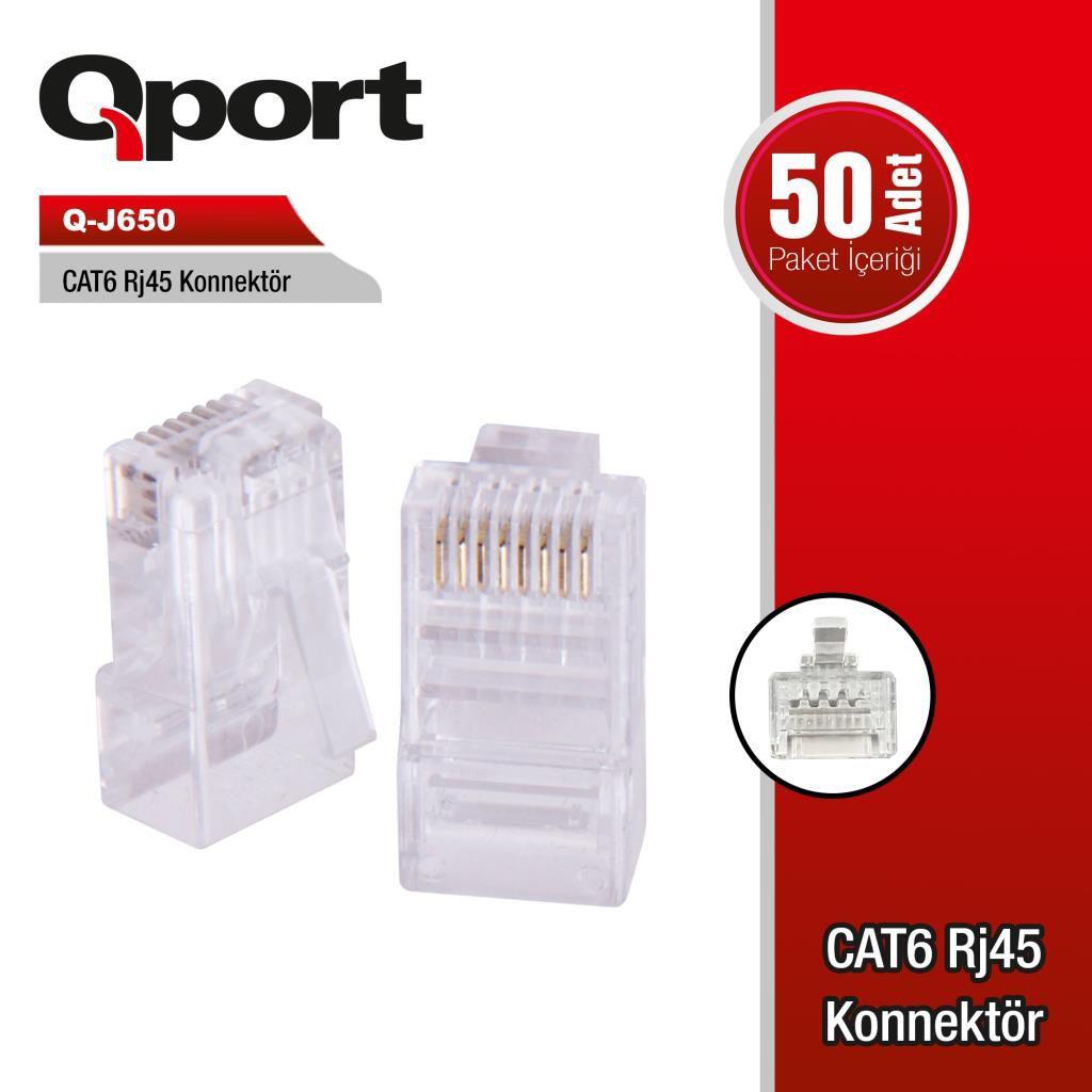 QPort Q-J650 CAT6 50'li RJ-45 Konnektör