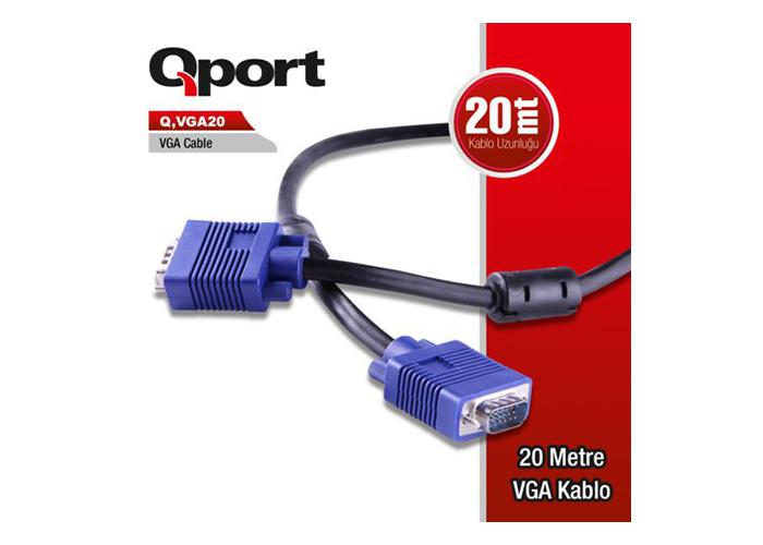 QPort Q-VGA20 Filtreli 20 Metre VGA Kablo