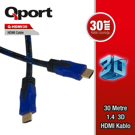QPORT Q-HDMI30 30M ALTIN UÇLU HDMI KABLO