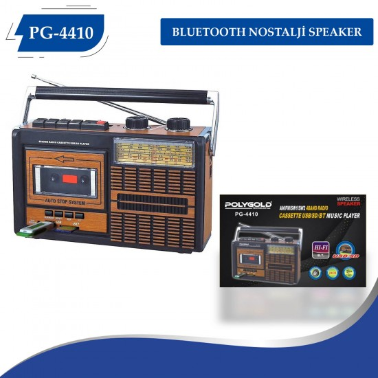 POLYGOLD PG-4410 CASSSETTE  USB TF CARD AUX İN  FM RADIO