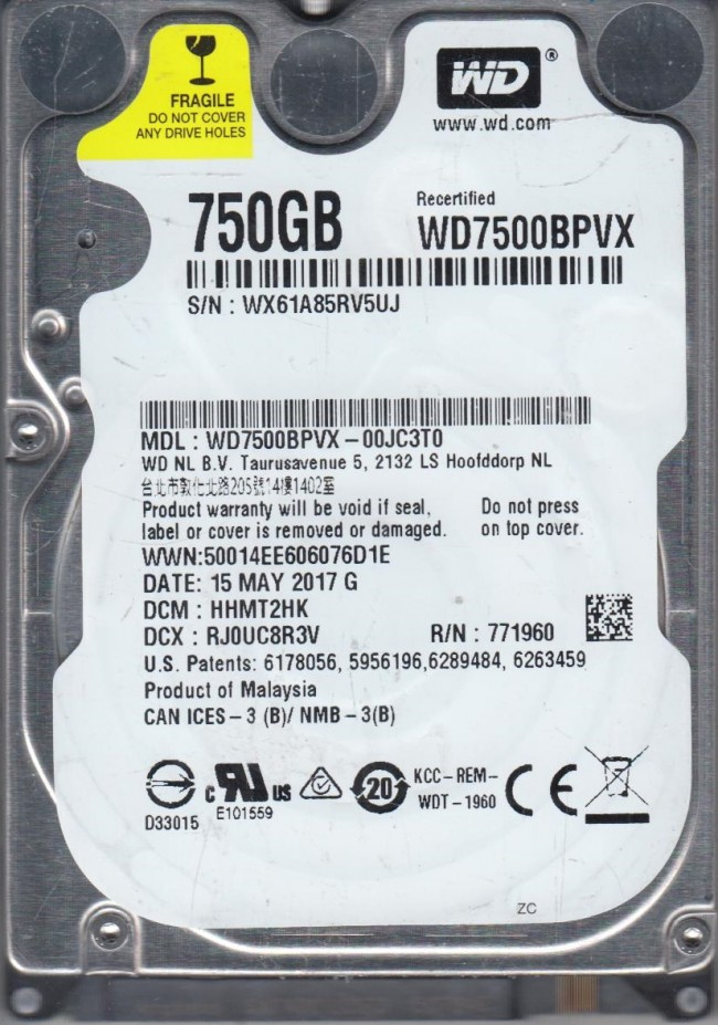 "Western Digital WD7500BPVX 750GB 5400rpm 2.5"" SATA HDD"