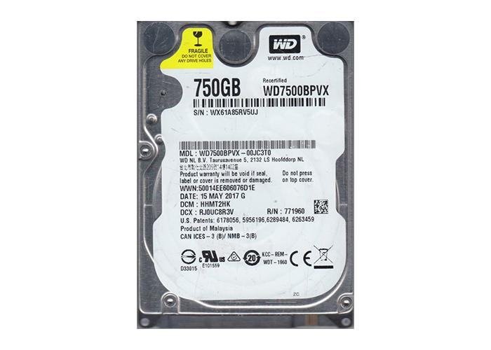"""Western Digital WD7500BPVX 750GB 5400rpm 2.5"""" SATA HDD"""