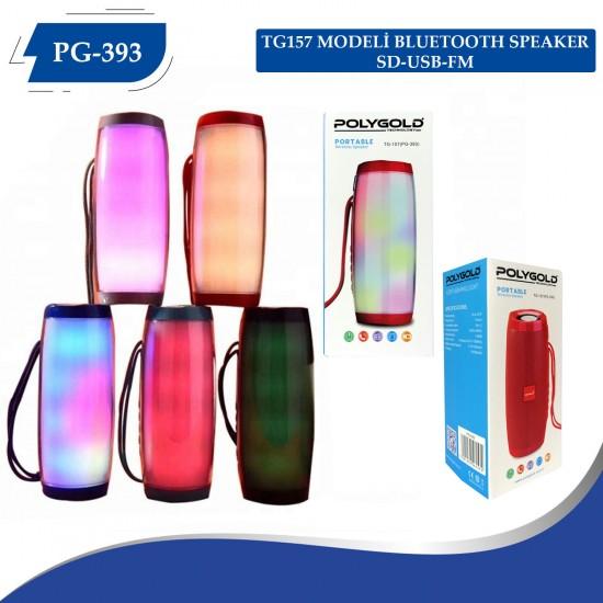 Polygold PG-393 Bluetooth Speaker USB-SD Kart-BT-FM Işıklı
