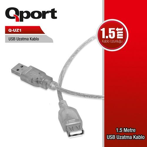 Q-Port Q-UZ1 Usb 2.0 1.5 Metre Uzatma Kablosu