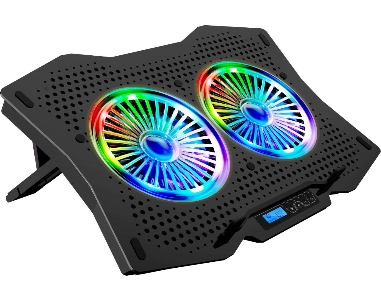 Rampage AD-RC9 TORNADO Siyah 115 -115 -15mm (2 adet)Fanlı 10''-18'' RGB Işıklı Notebook Soğutucu Stand
