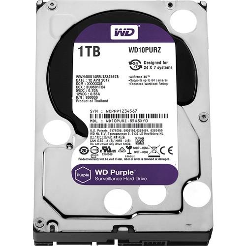 """WD Purple 1TB 3,5"""" SATA III 6Gbit/s 64MB 7/24 Güvenlik Kamerası Diski WD10PURZ"""