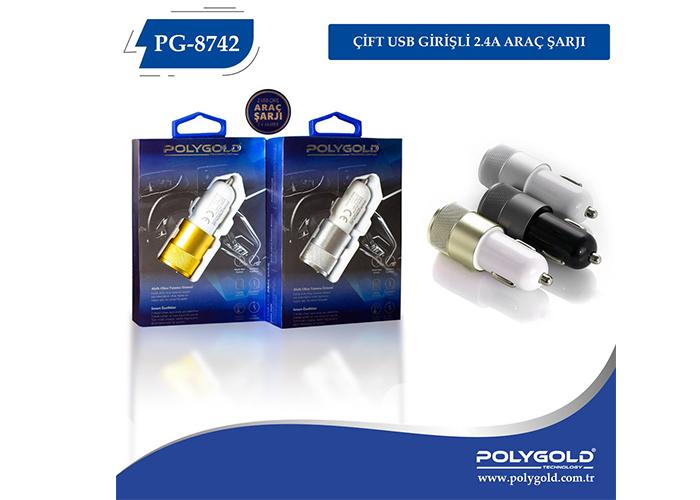 Polygold PG-8742 2 USB 2.1A ARAÇ ŞARZI (DRN-8742)