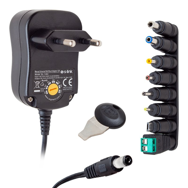 S-link SL-128C 3V/4,5V/5V/6V/7,5V/9V/12V 1A 12W (5.5*2.1) 8 Uçlu Adaptör