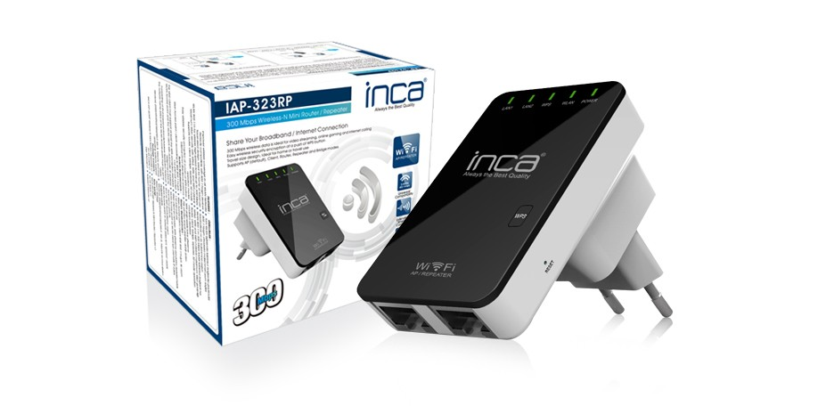 Inca IAP-323RP 300 Mbps 2.4 Ghz Wireless-N Mini Router/Repeater