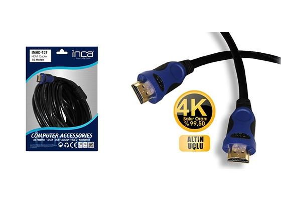 Inca Imhd-10T Hdmı-Hdmı 10Mt 1.4V 3D Altın Uç Kablo
