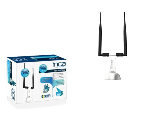 Inca IUWA-300N 300Mbps 11N 10dbi Çift Anten Wireless Adaptör