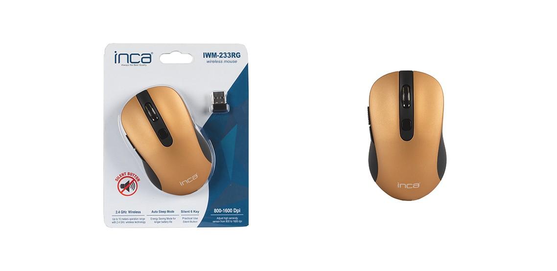 Inca IWM-233RG 1600 Dpi Sessiz Kablosuz Mouse Gold