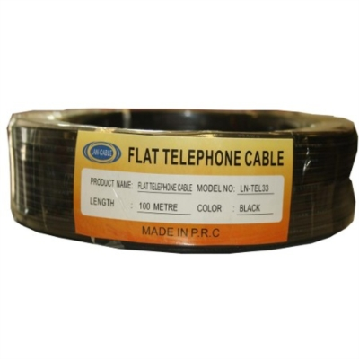 Lan Ln-Tel33 100M Siyah Flat Telefon Kablosu