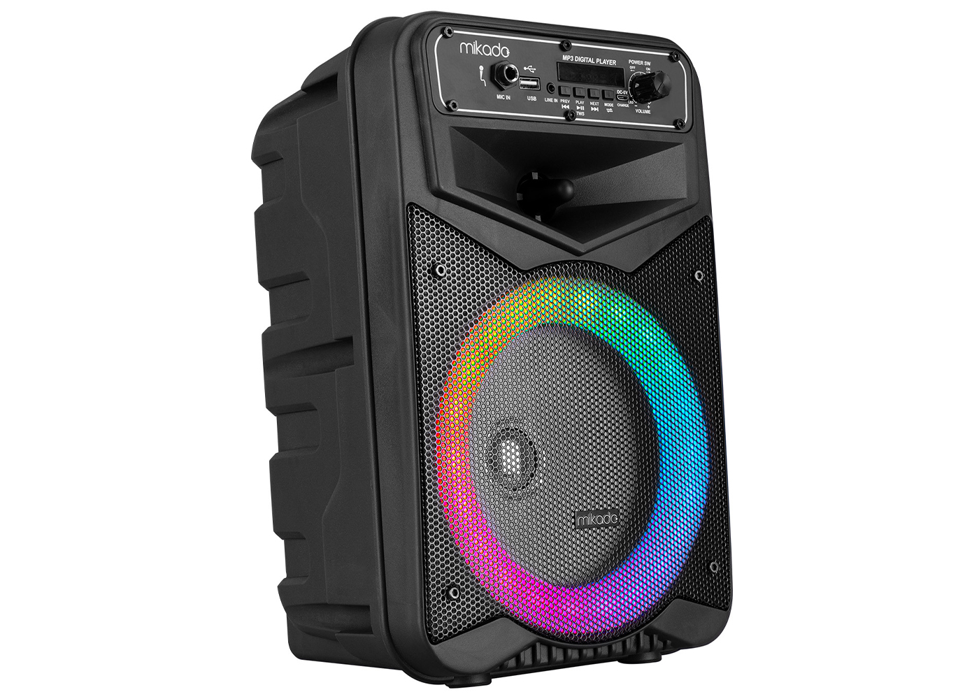 Mikado MD-802KP 3.7V 2400mAh Siyah Kablolu Mikrofon Toplantı Anfisi Bluetooth/USB/FM/RGB Ledli