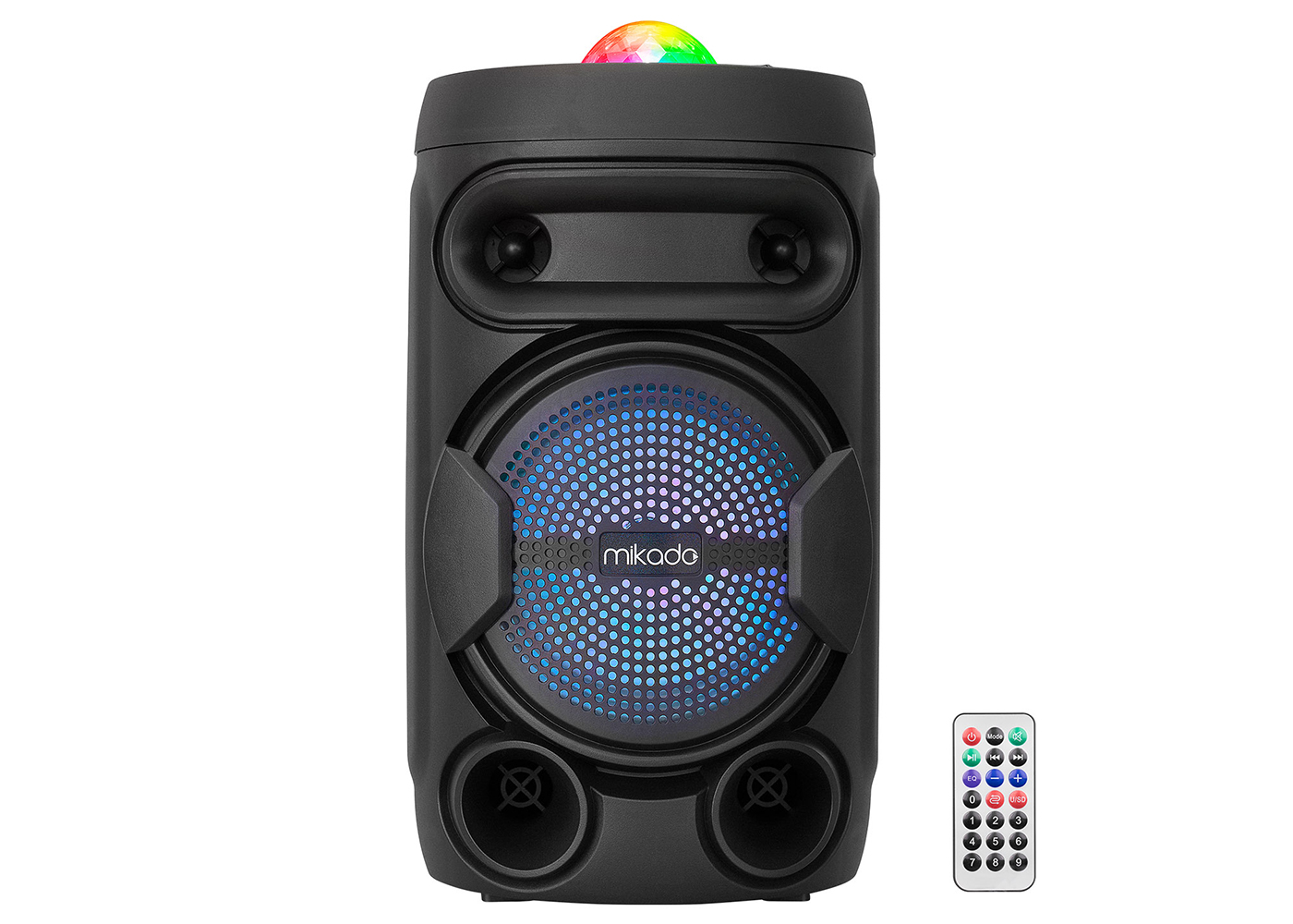 Mikado MD-602KP 3.7V 1500mAH Siyah Kablolu Mikrofon Toplantı Anfisi USB/FM/Bluetooth/TWS/RGB Ledli