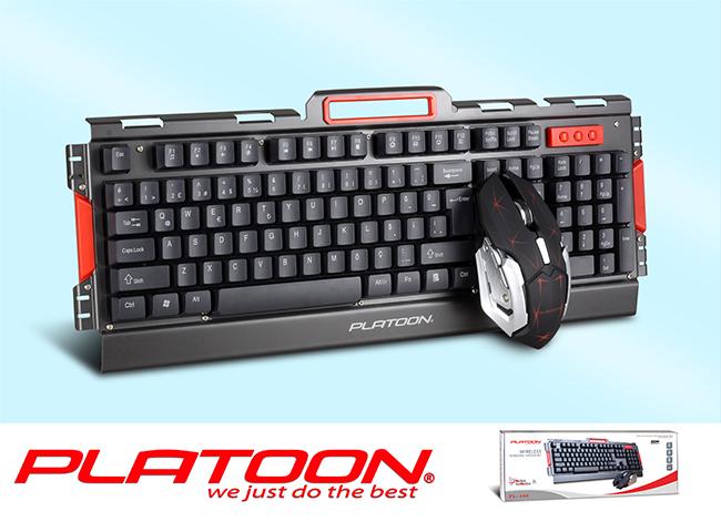 Platoon PL-486 Siyah USB Kablosuz Q Oyuncu Kablosuz Klavye Mouse Seti