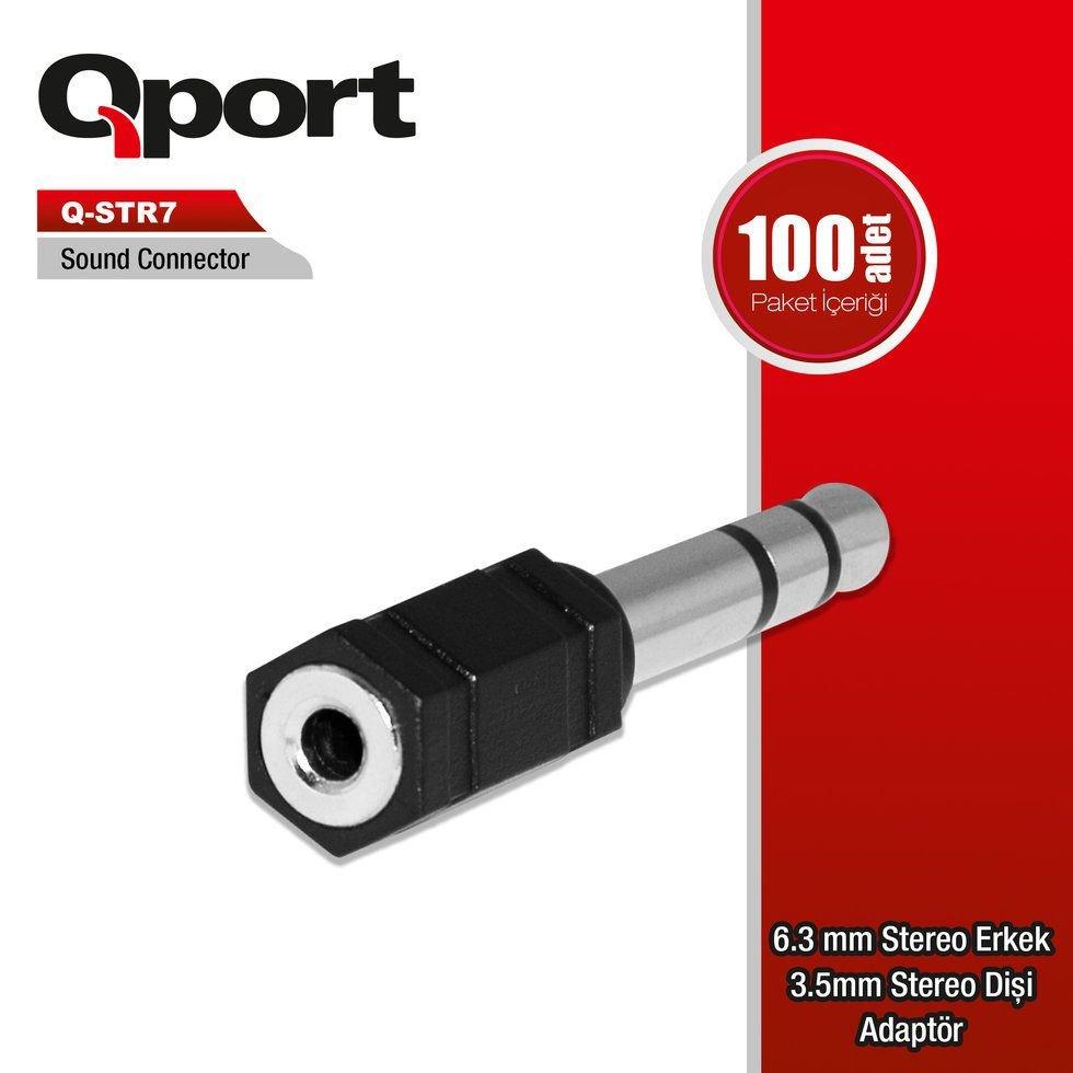 Qport Q-Str7 6,3Mm Stereo Erkek 3Mm Adaptör 10'Lu