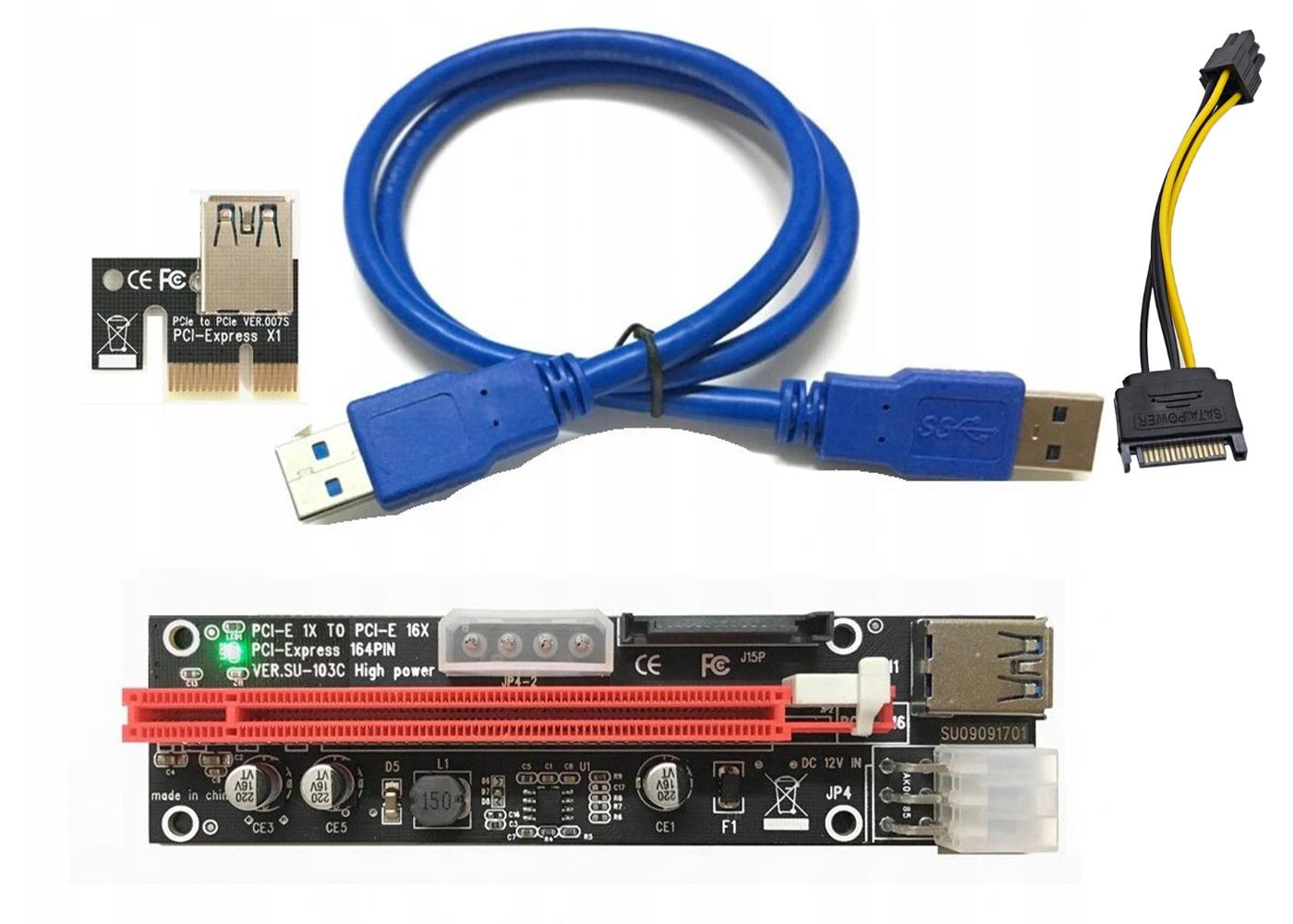 Riser Kart Ver009S USB 3.0 Pcie X1 to X16