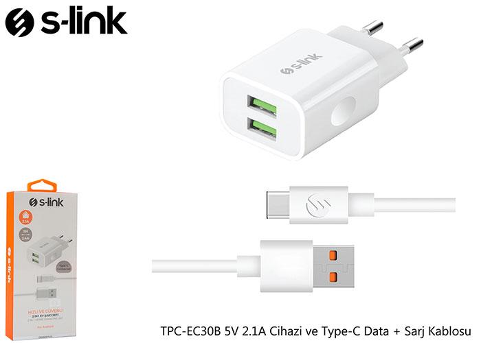 S-link TPC-EC30B 5V 2.1A Ev Şarj Cihazi ve Type-C Data + Sarj Kablosu