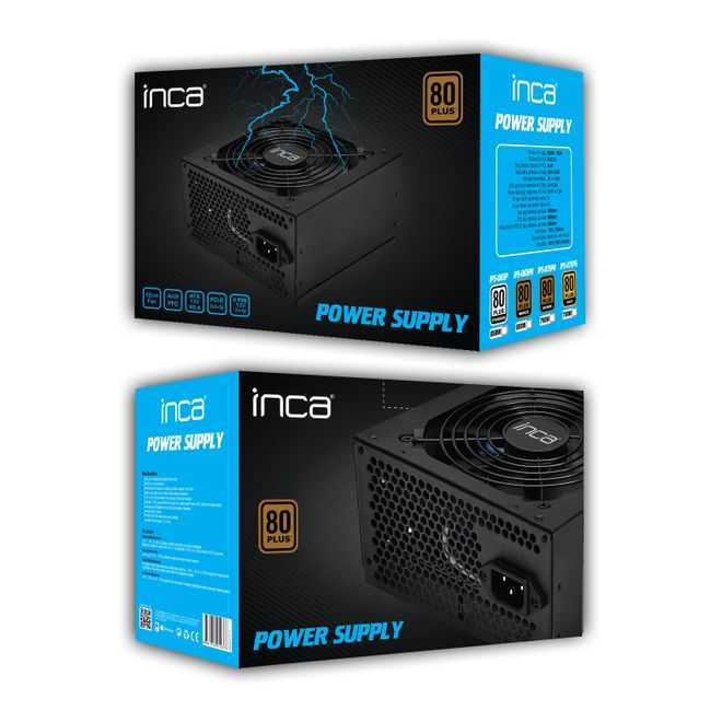 INCA 650w IPS-065P 12cm Fan Aktif PFC 80+ Power Supply (PSU) 2x (6+2pin) Sata