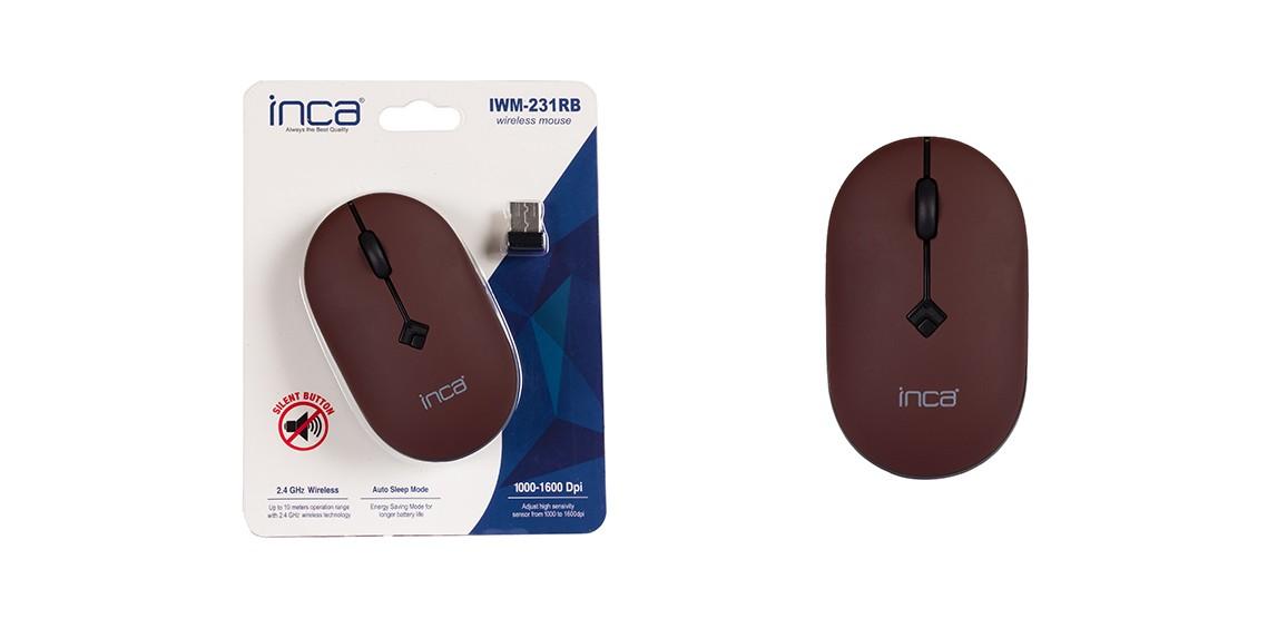 Inca IWM-231RB 1600 Dpi Sessiz Kablosuz Mouse Kahverengi